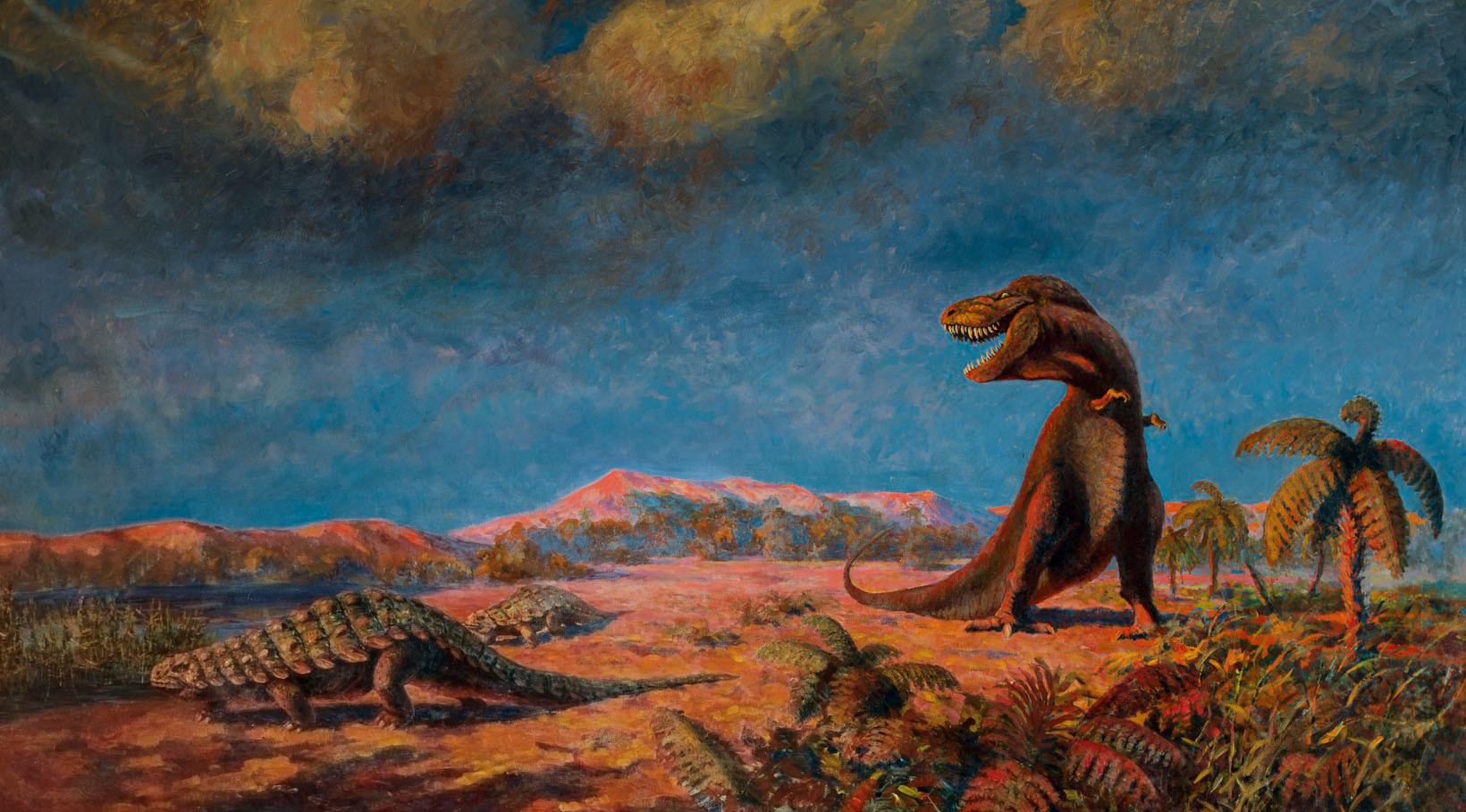 Tarbosaurus and armored dinosaur by Konstantin Konstantinovich Flyorov, circa 1955.