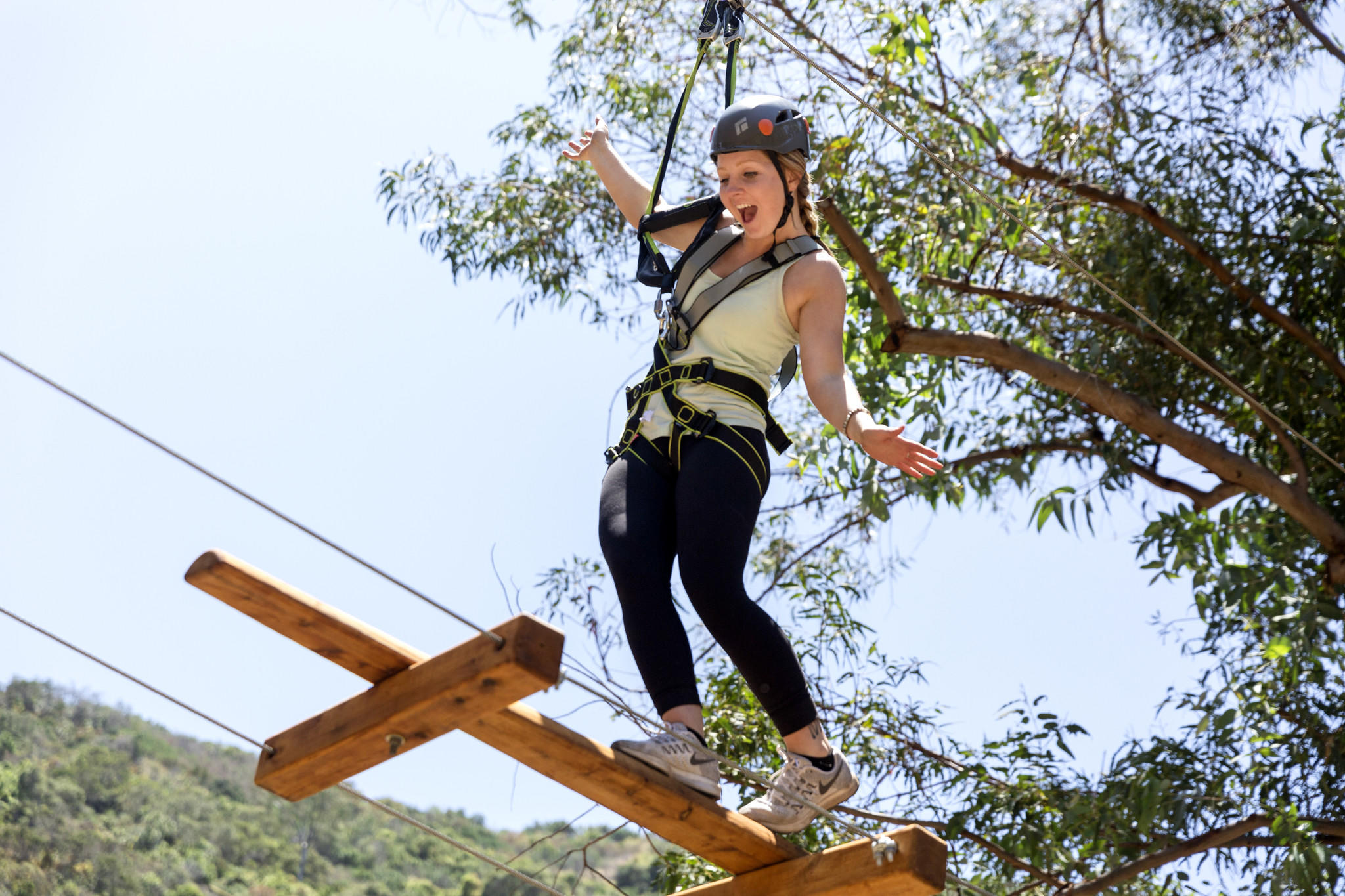 Catalina Aerial Adventure in Descanso Canyon, beyond the city's Avalon Casino landmark.