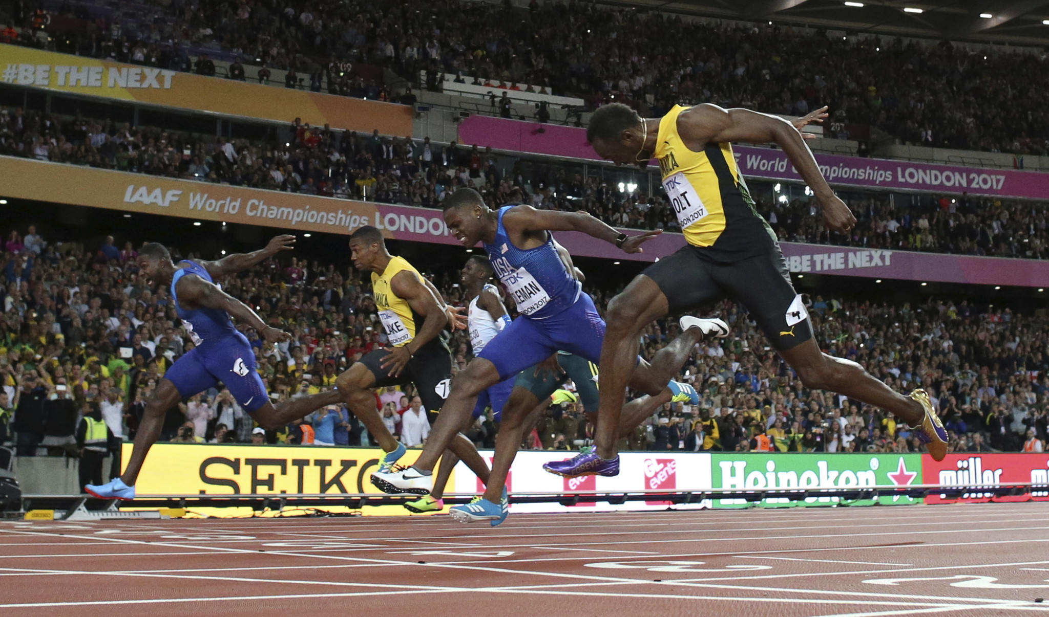 Usain Bolt finishes 3rd in final 100-meter race; Justin ...