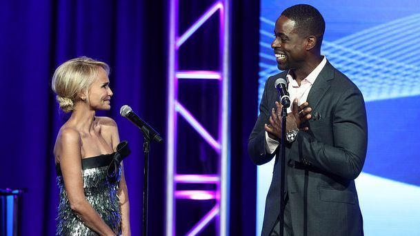 "Host Kristin Chenoweth and Sterling K. Brown of ""This Is Us"" perform at the 33rd Television Critics Assn. awards Saturday at the Beverly Hilton. (Frederick M. Brown / Getty Images)"