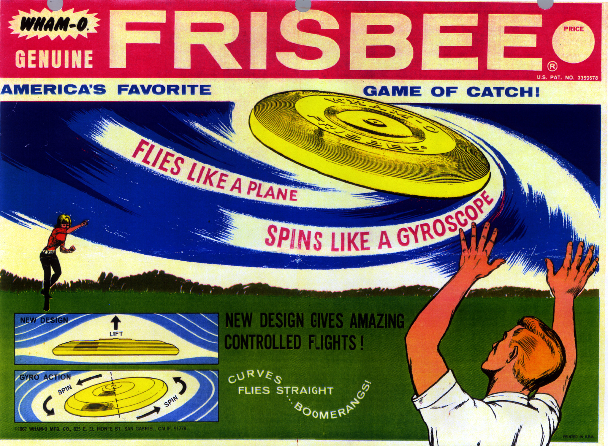 A historical advertisement for Wham–O's Frisbee.