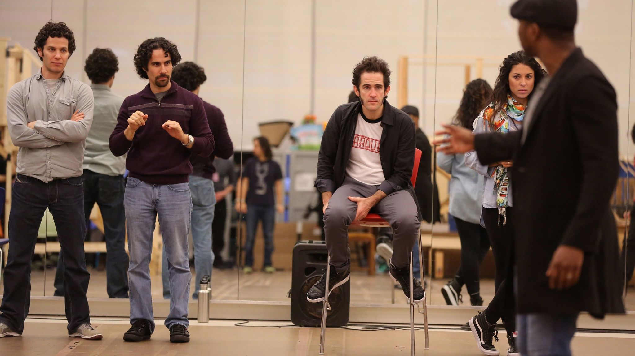 Thomas Kail, left, Alex Lacamoire, Andy Blankenbuehler and Stephanie Klemons look on during rehearsal.