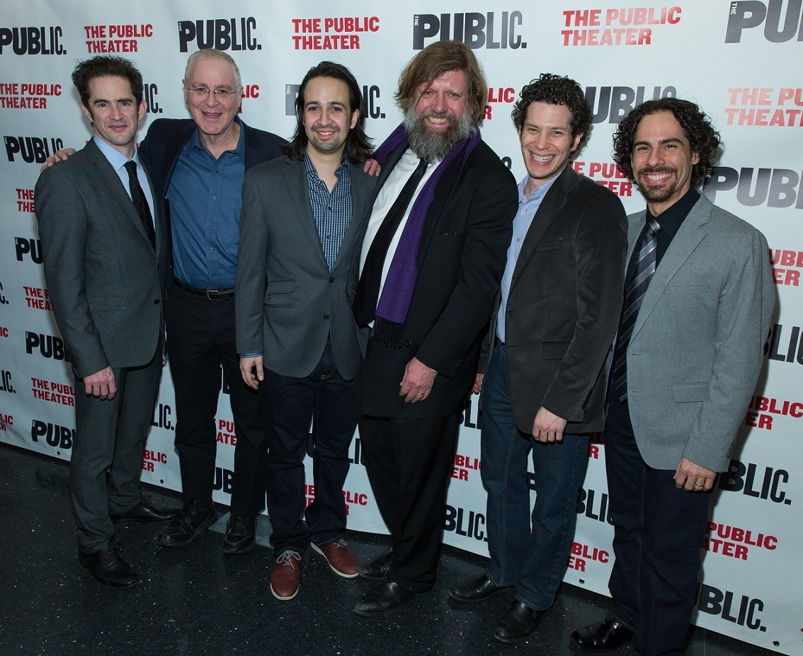 From left: Choreographer Andy Blankenbuehler; author Ron Chernow; composer, lyricist, book writer and star Lin-Manuel Miranda; the Public's artistic director, Oskar Eustis; director Thomas Kail; and music director and orchestrator Alex Lacamoire.