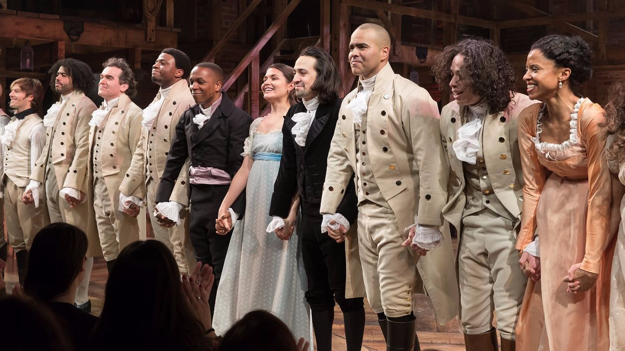 Curtain call, from left: Thayne Jasperson, Daveed Diggs, Brian d'Arcy James, Okieriete Onaodowan, Leslie Odom Jr., Phillipa Soo, Lin-Manuel Miranda, Christopher Jackson, Anthony Ramos, Renee Elise Goldsberry.