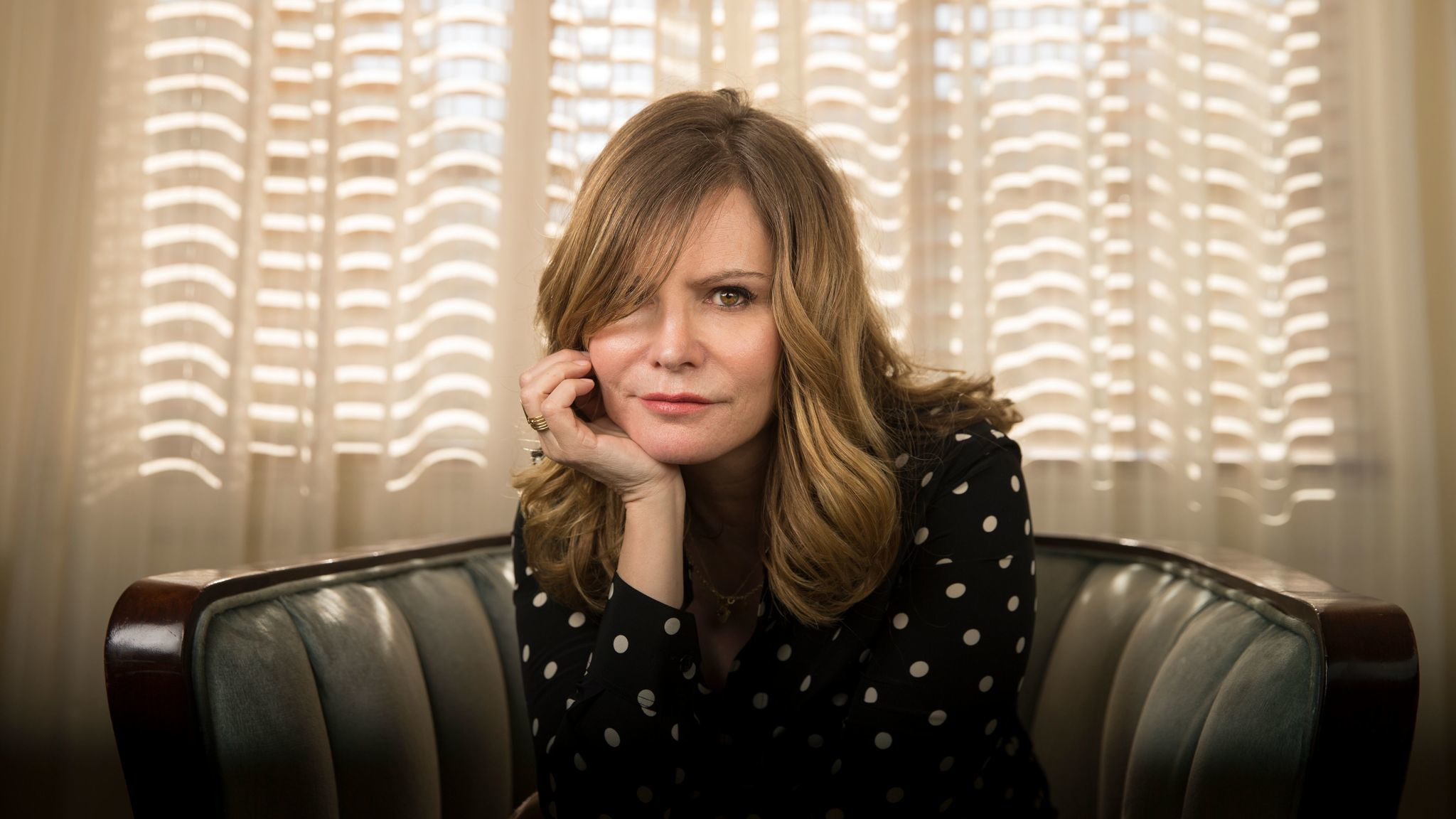 """Actress Jennifer Jason Leigh stars in the new Netflix comedy, """"Atypical,"""" as the mother of a son with autism."""