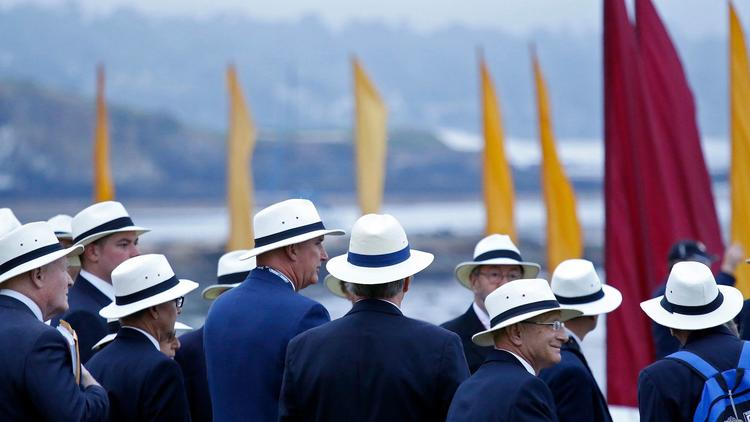 Docents gather for a tour of the grounds during the 2016 Pebble Beach Concours d'Elegance.