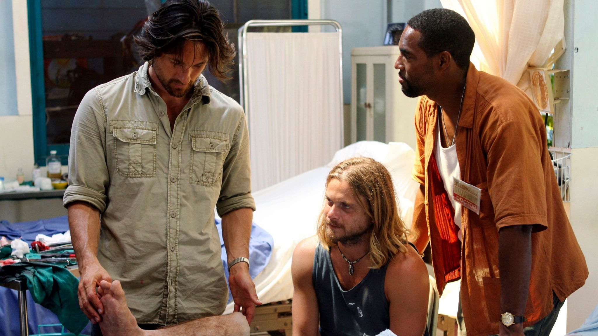 "Martin Henderson, left, with Thomas Blake Jr. and Jason George in a scene from ""Off the Map."
