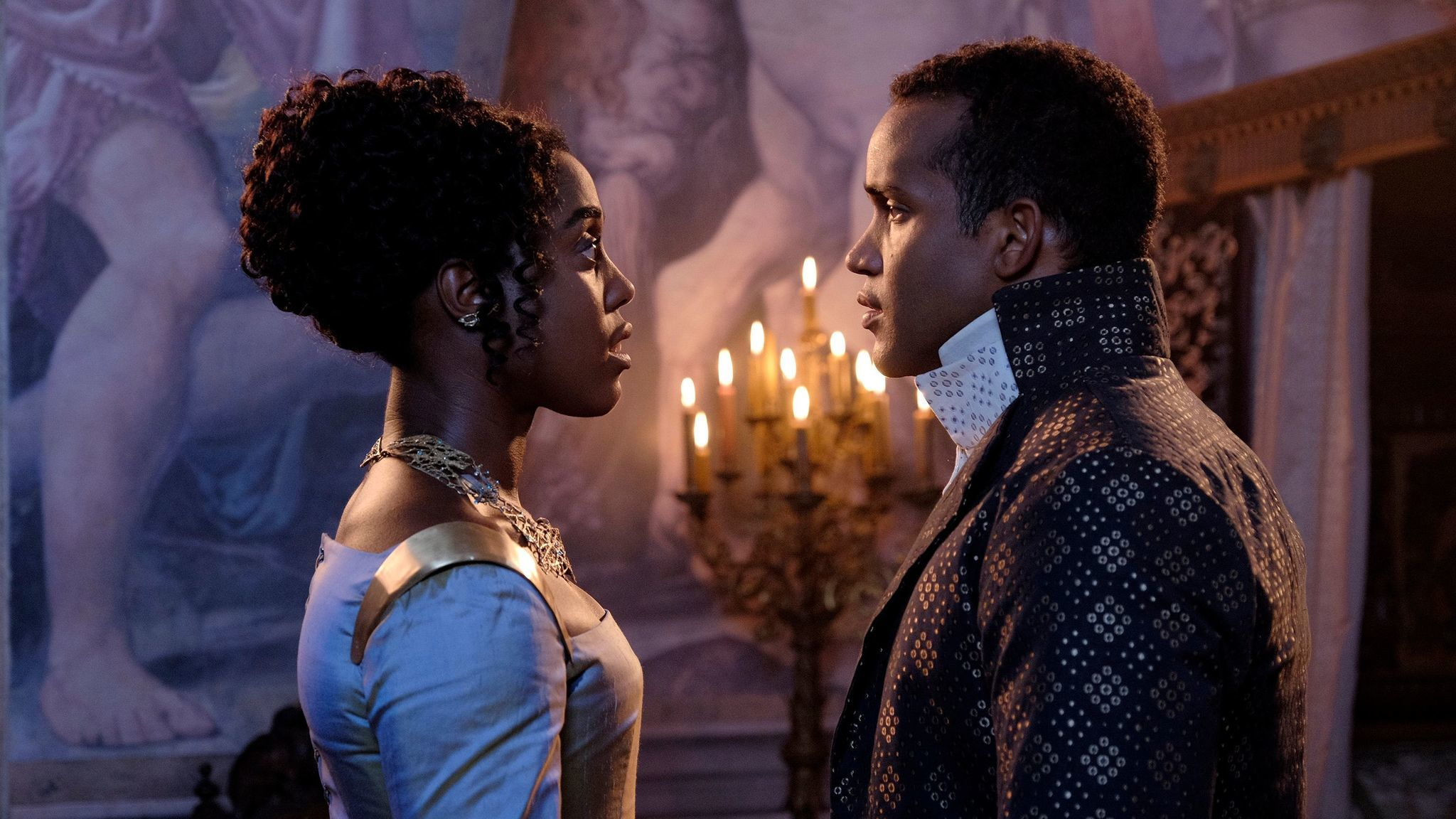 "Lashana Lynch as Rosaline and Sterling Sulieman as Prince Escalus in ""Still Star-Crossed."""