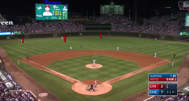 Cubs employ 4-man outfield alignment vs. Joey Votto. The ...