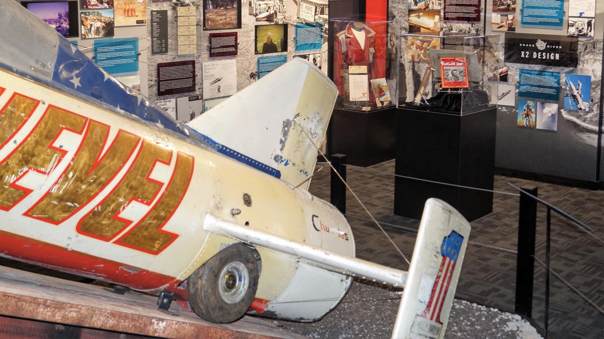 "The ""Skycycle"" that rocketed Knievel across an Idaho canyon in 1974 is prominently displayed at the museum."