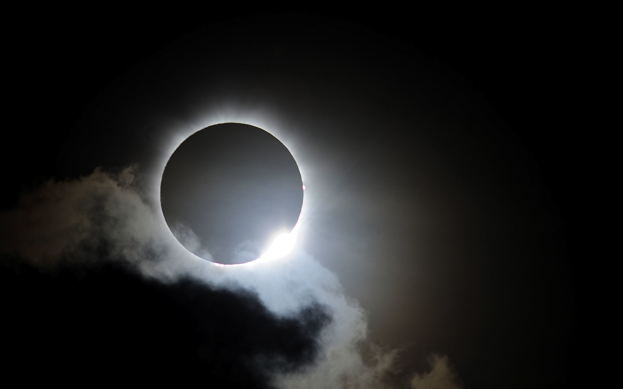 Near totality is seen during the solar eclipse in Palm Cove, Australia, on Nov. 14, 2012.