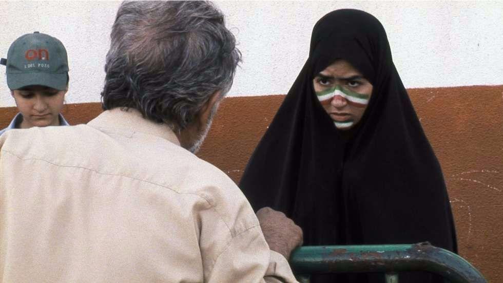 "Nazanin Sedighzadehn, left, Reza Farhadi and Golnaz Farmani star in ""Offside."""