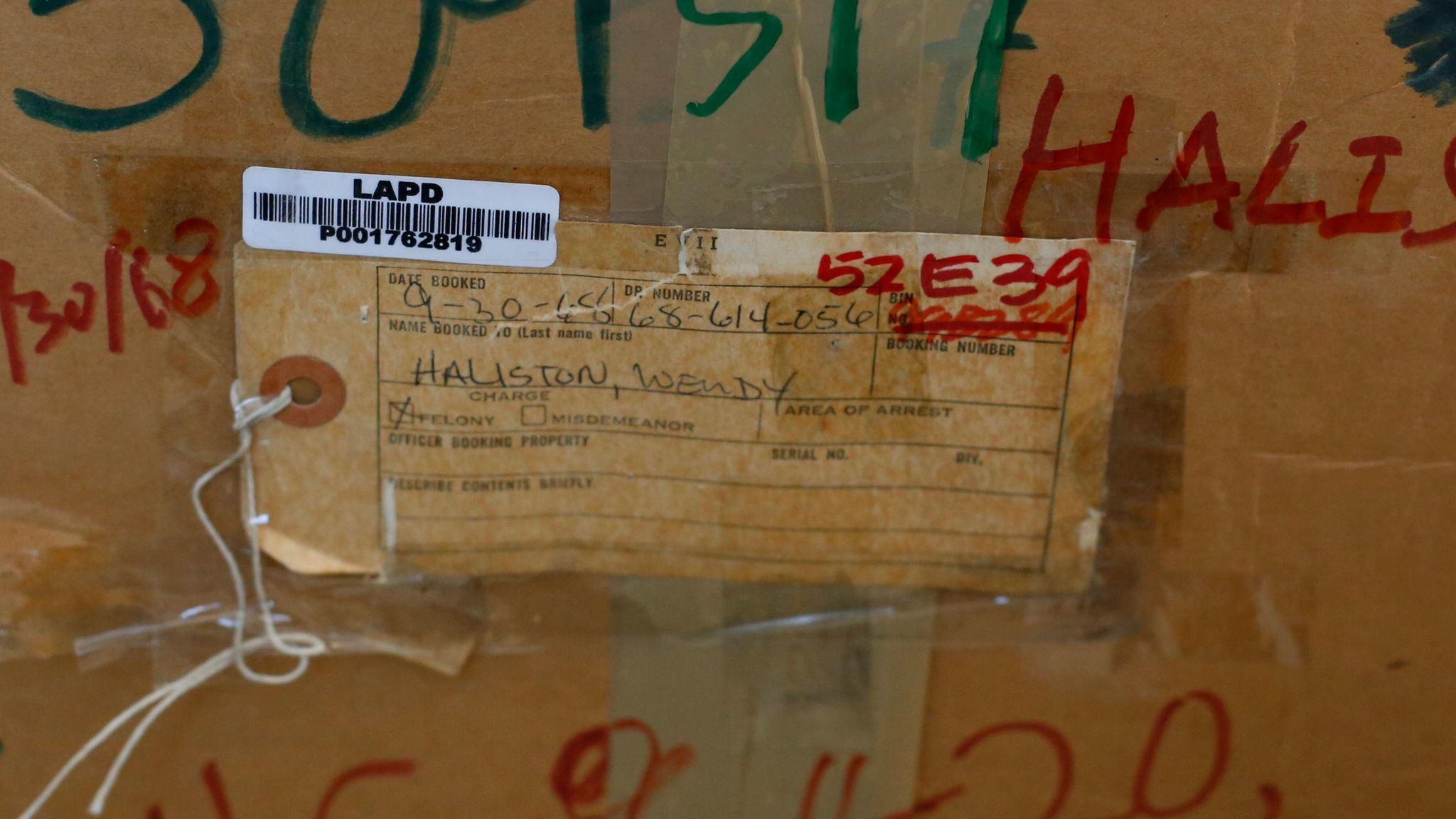 For decades, Wendy Jo Halison's belongings sat in two cardboard boxes at the LAPD, the original evidence tag from 1968 still taped to one of the boxes.
