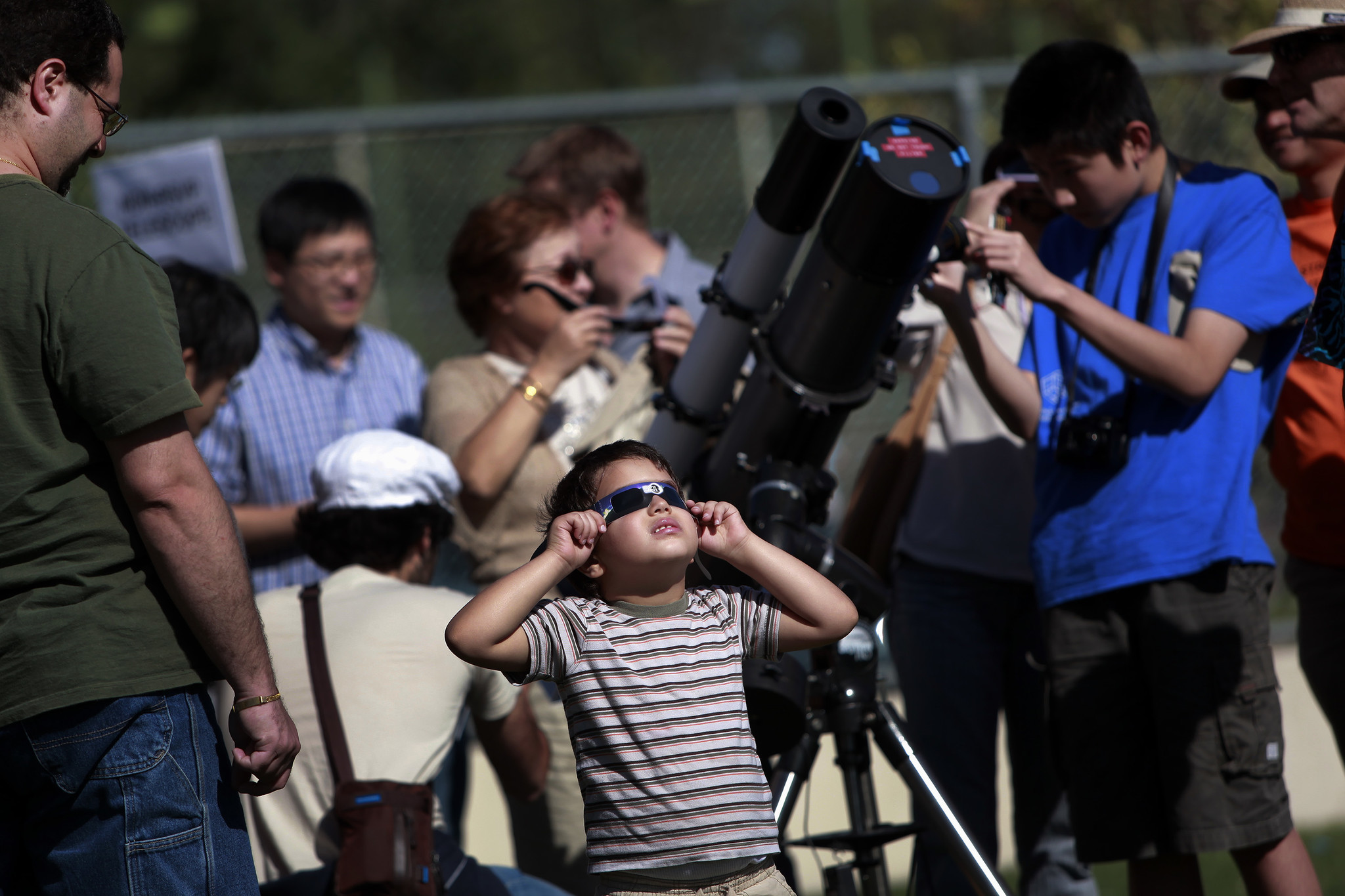 Skywatchers gathered at the Caltech campus for the transit of Venus in 2012. The university opens its grounds again this year for the partial eclipse.