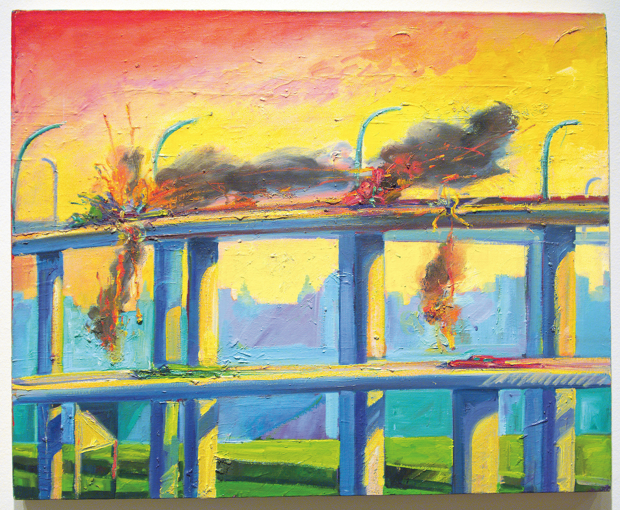 """Sunset Crash,"" 1982, by Carlos Almaraz, at the Los Angeles County Museum of Art"
