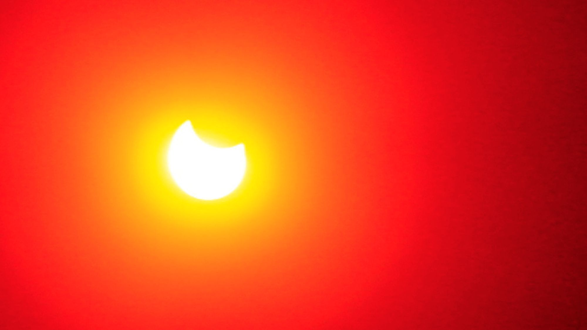 A partial eclipse of the sun viewed from the Los Angeles area in 2014.