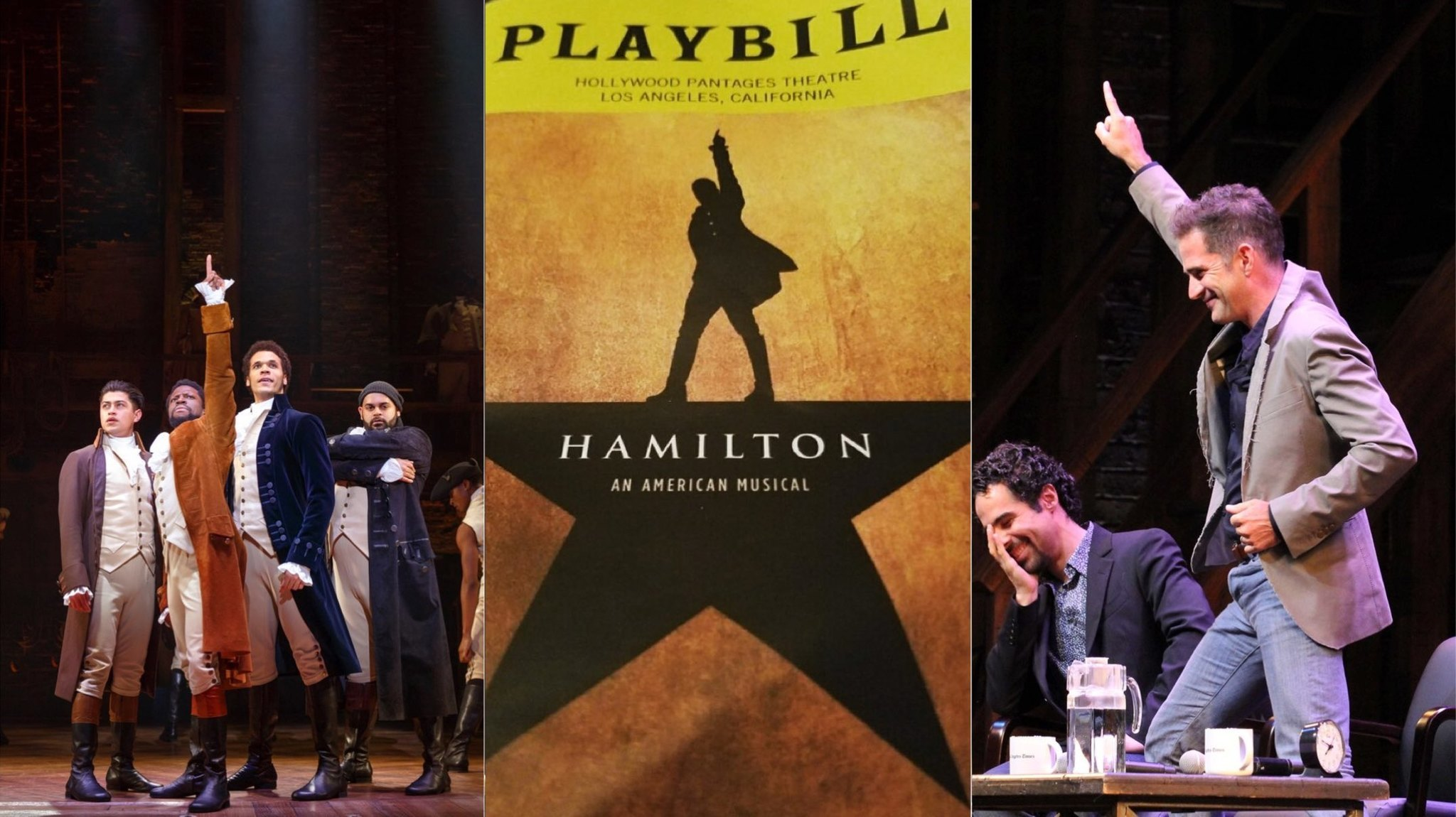 """The """"Hamilton"""" National Tour at the Orpheum Theatre in San Francisco; the """"Hamilton"""" playbill, center; and music supervisor Alex Lacamoire, left, and choreographer Andy Blankenbuehler. (Los Angeles Times)"""