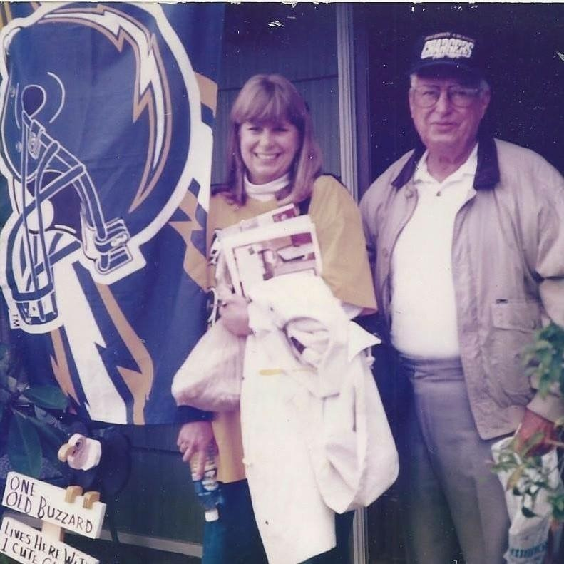 The author's late grandfather with his daughter, headed out to a game.