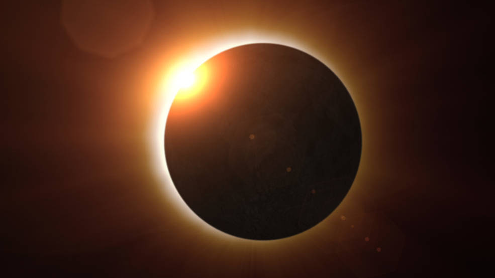 This illustration depicts the moments just before a total eclipse.