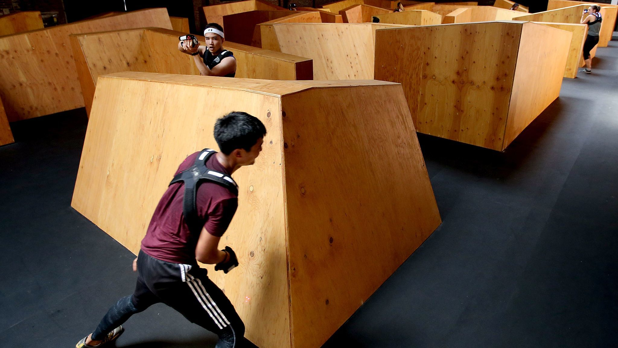 Avoiding opponents in the maze can be an intense workout.