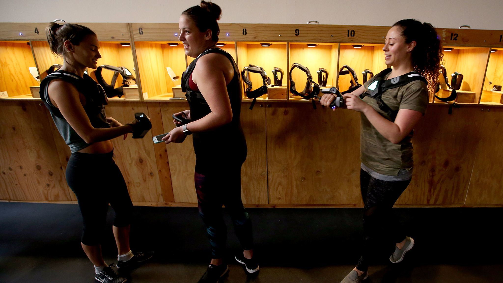 Players suit up for a round of laser tag last month.