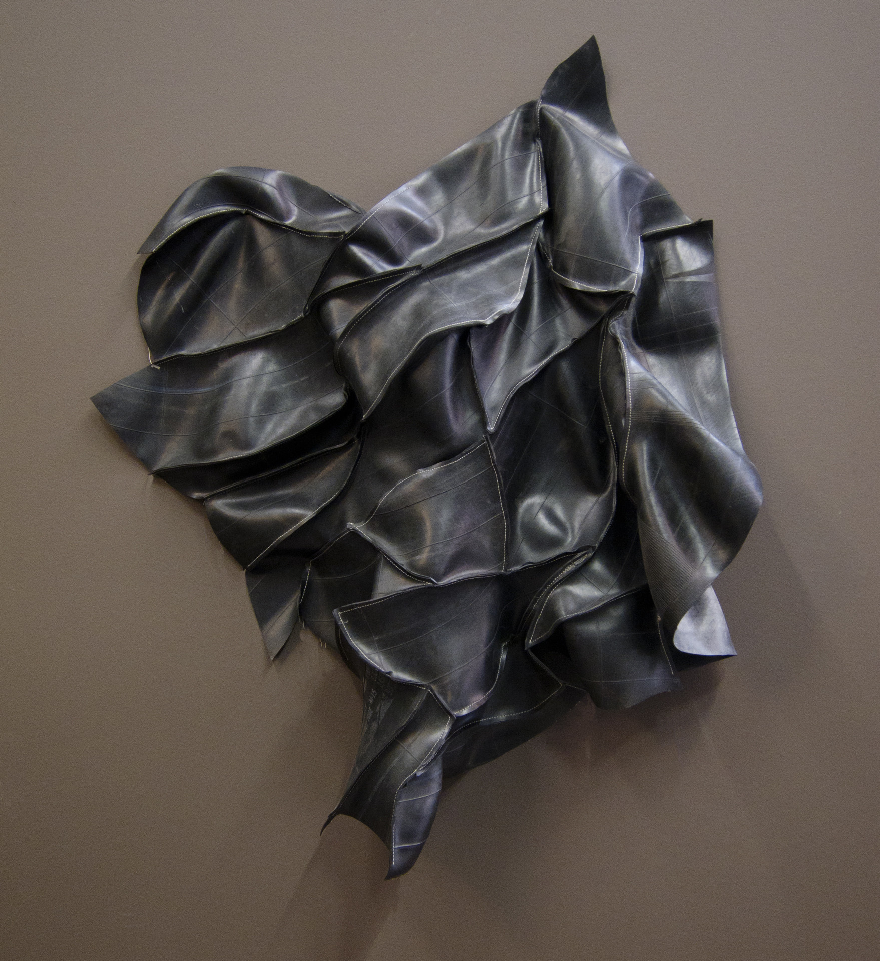 """Victoria May's """"Large Fetish,"""" 2014. Used inner tubes, thread."""