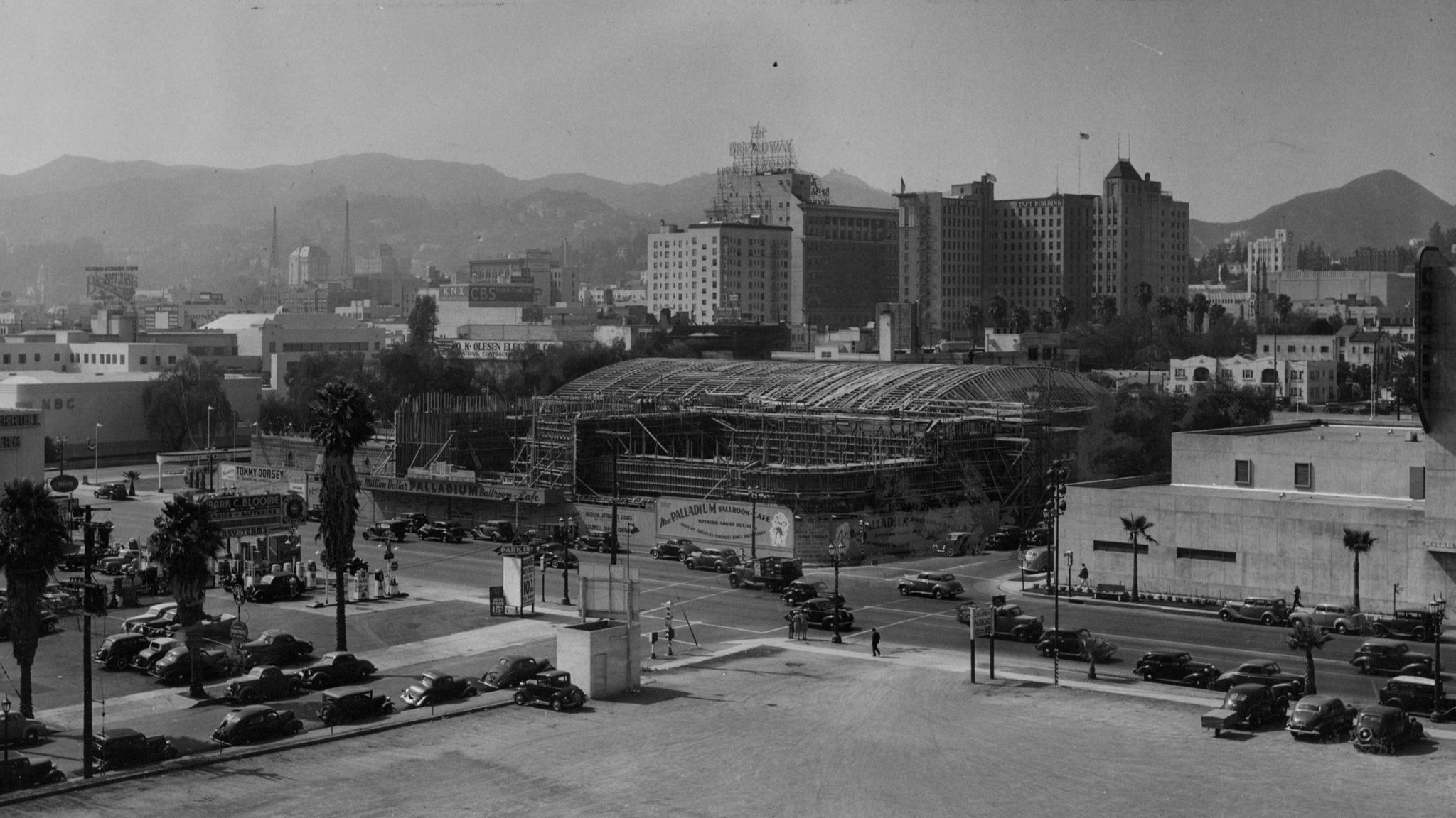 A view of the Hollywood Palladium under construction in 1940.