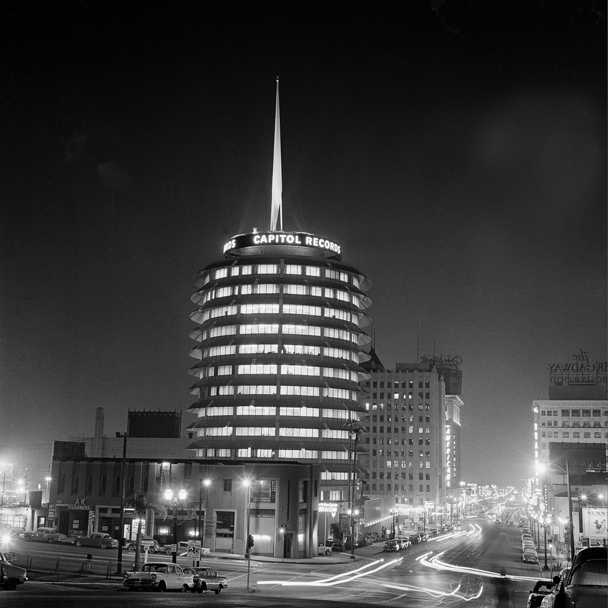 The Capitol Records building on Vine St. in 1958.