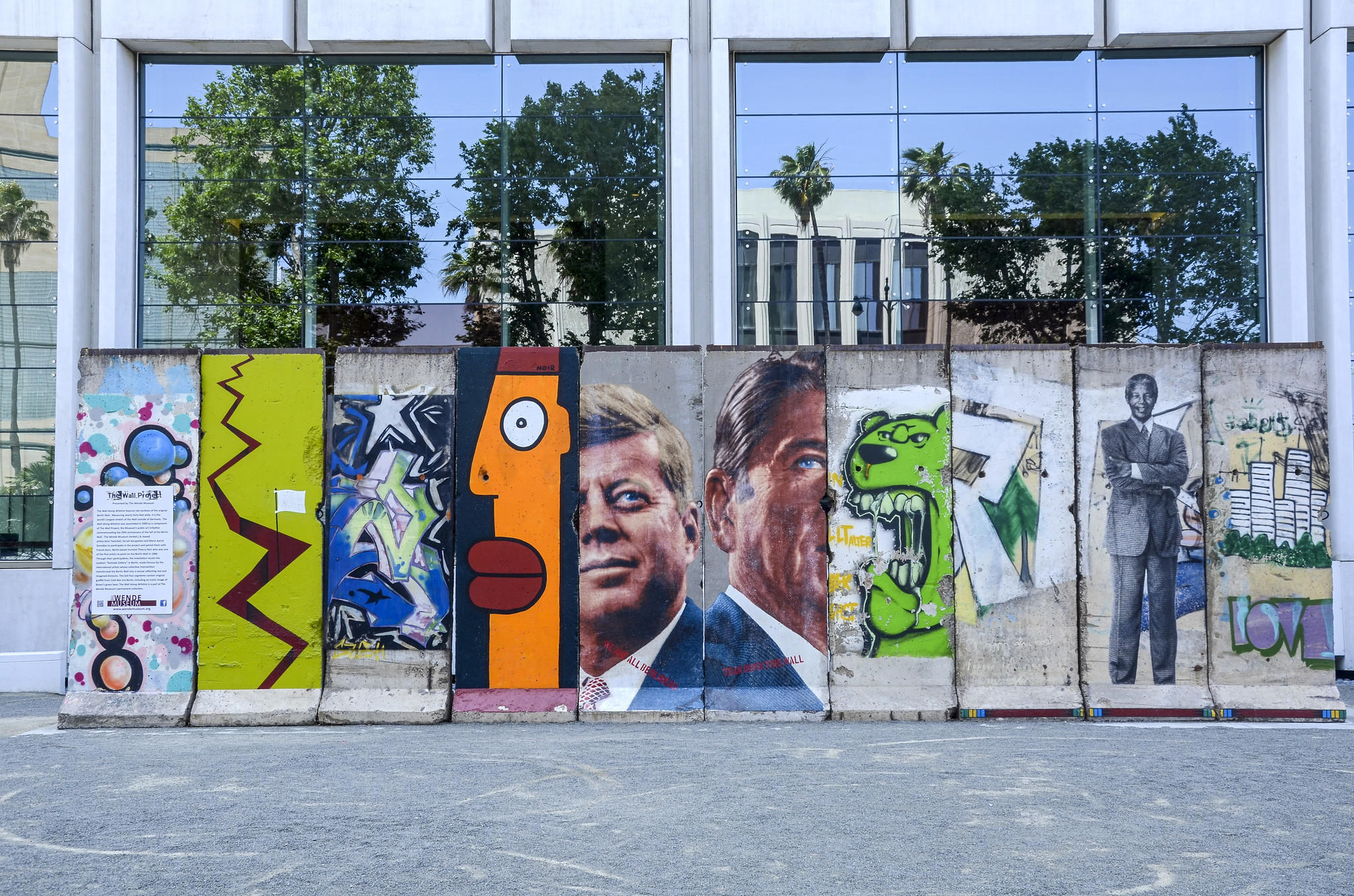 Segments of the Berlin Wall, now displayed at 5900 Wilshire Boulevard, Los Angeles. Presented by the Wende Museum.