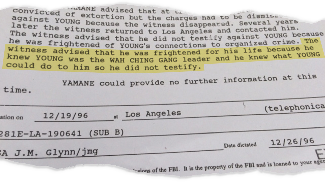 """""""The witness advised that he was frightened for his life because he knew Young was the Wah Ching gang leader and he knew what Young could do to him so he did not testify."""""""