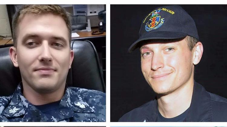 From left to right, Electronics Technician 1st Class Charles Nathan Findley and Electronics Technici