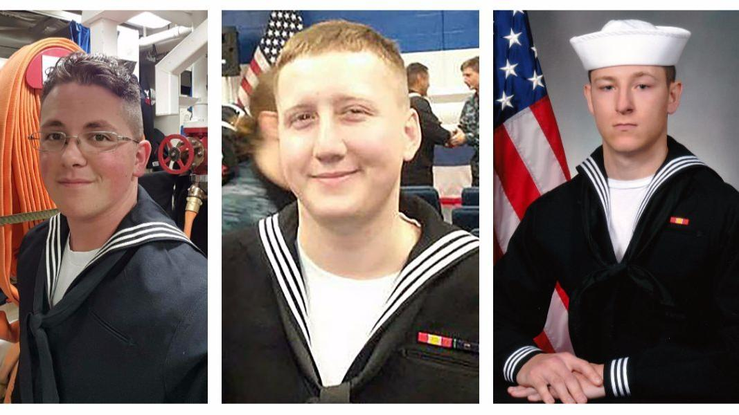 From left to right, Electronics Technician 3rd Class John Henry Hoagland III, Interior Communication