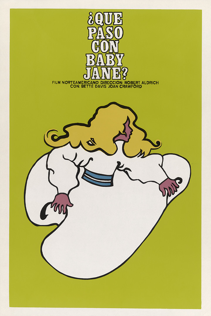 """A poster for """"Que Paso Con Baby Jane?"""" (""""What Ever Happened to Baby Jane?""""), 1976. Instituto Cubano del Arte e Industria Cinematográficos (ICAIC)."""