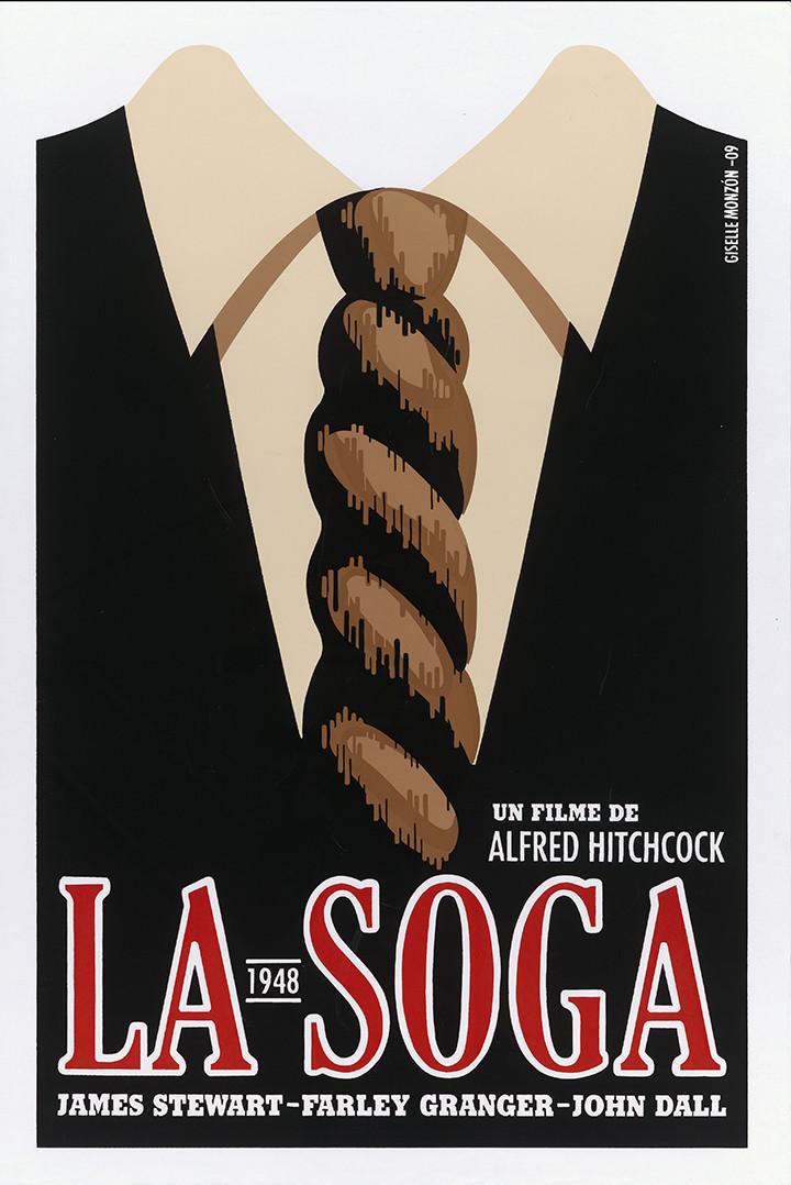 """A poster for Alfred Hitchcock's """"La Soga"""" (""""Rope""""), 2009. Instituto Cubano del Arte e Industria Cinematográficos."""