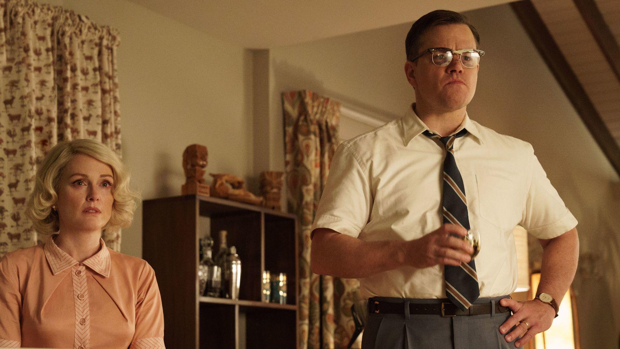 """Julianne Moore as Margaret, left, and Matt Damon as Gardner in """"Suburbicon."""""""