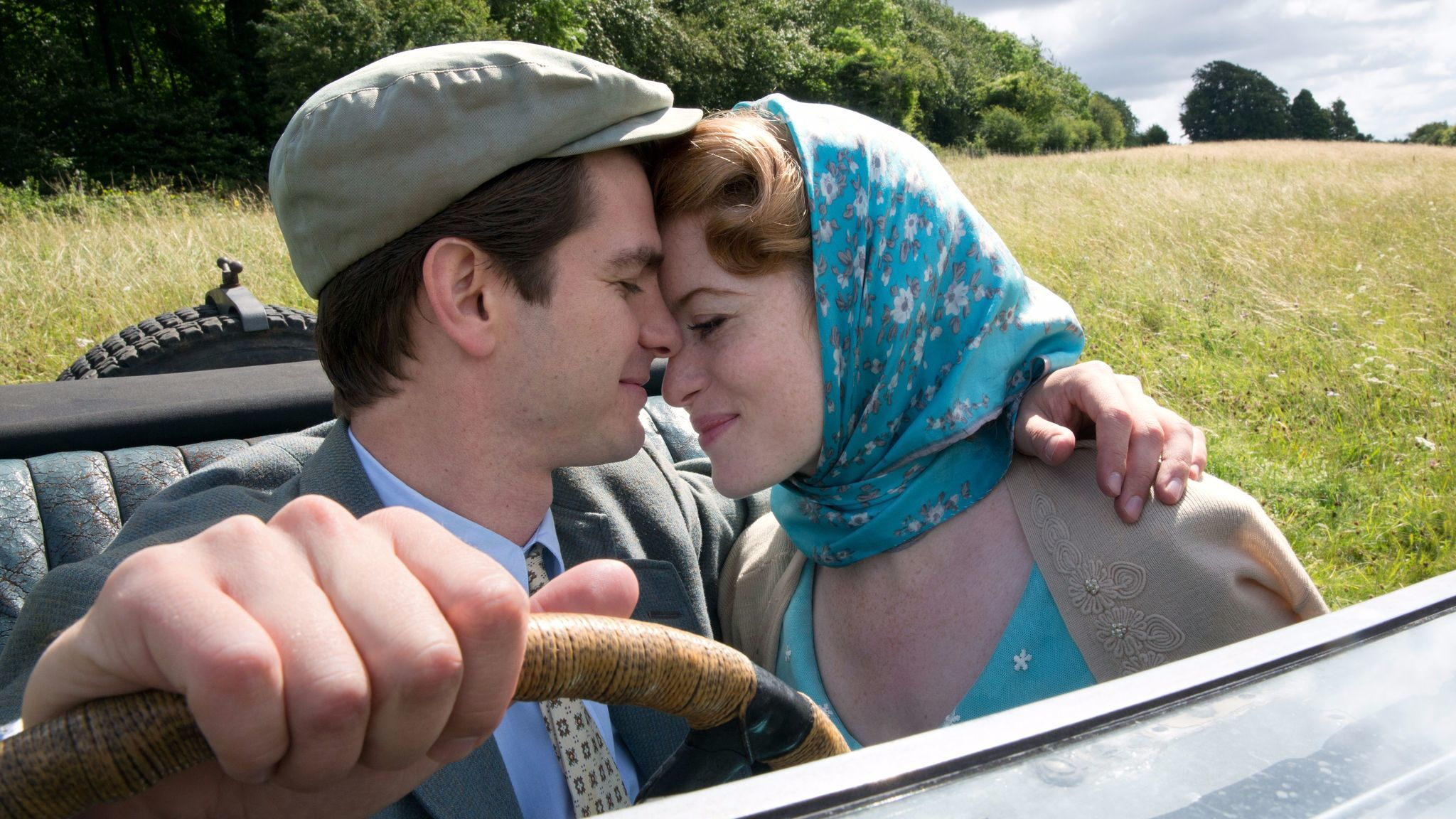 "Andrew Garfield and Claire Foy star as Robin and Diana Cavendish in ""Breathe."""
