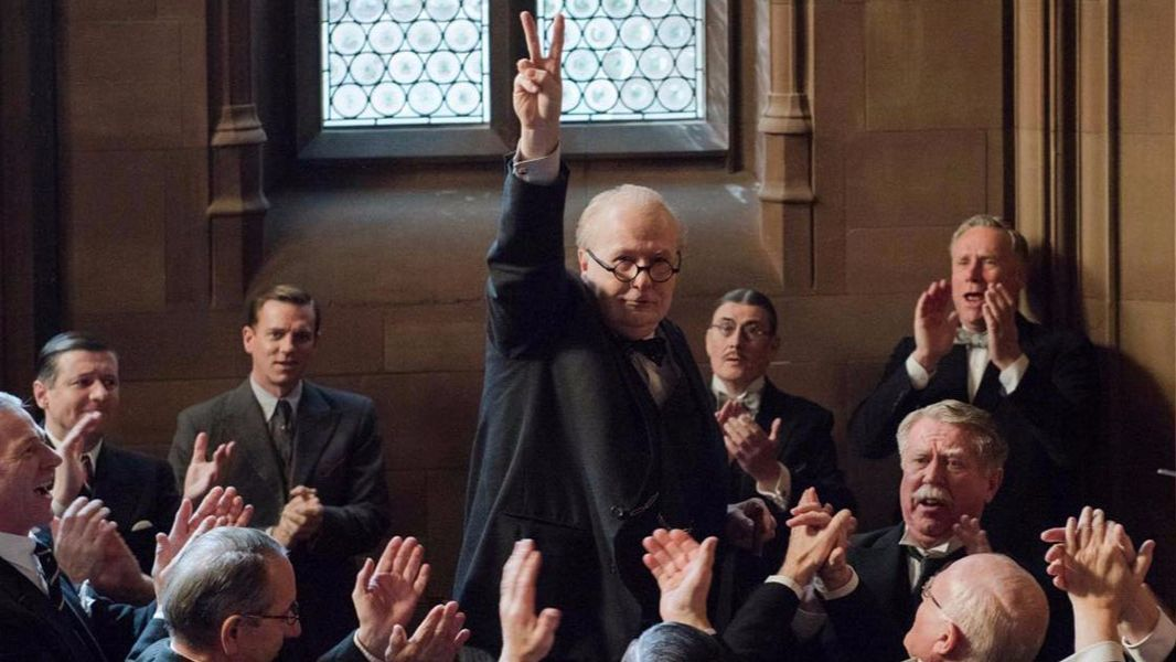 "Gary Oldman steps into the imposing persona of Winston Churchill in this period drama ""Darkest Hour."""