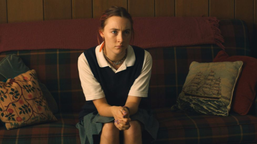 "A rebellious young woman (Saoirse Ronan) navigates the pressures and constraints of Catholic school and life in Sacremento, in ""Lady Bird."""