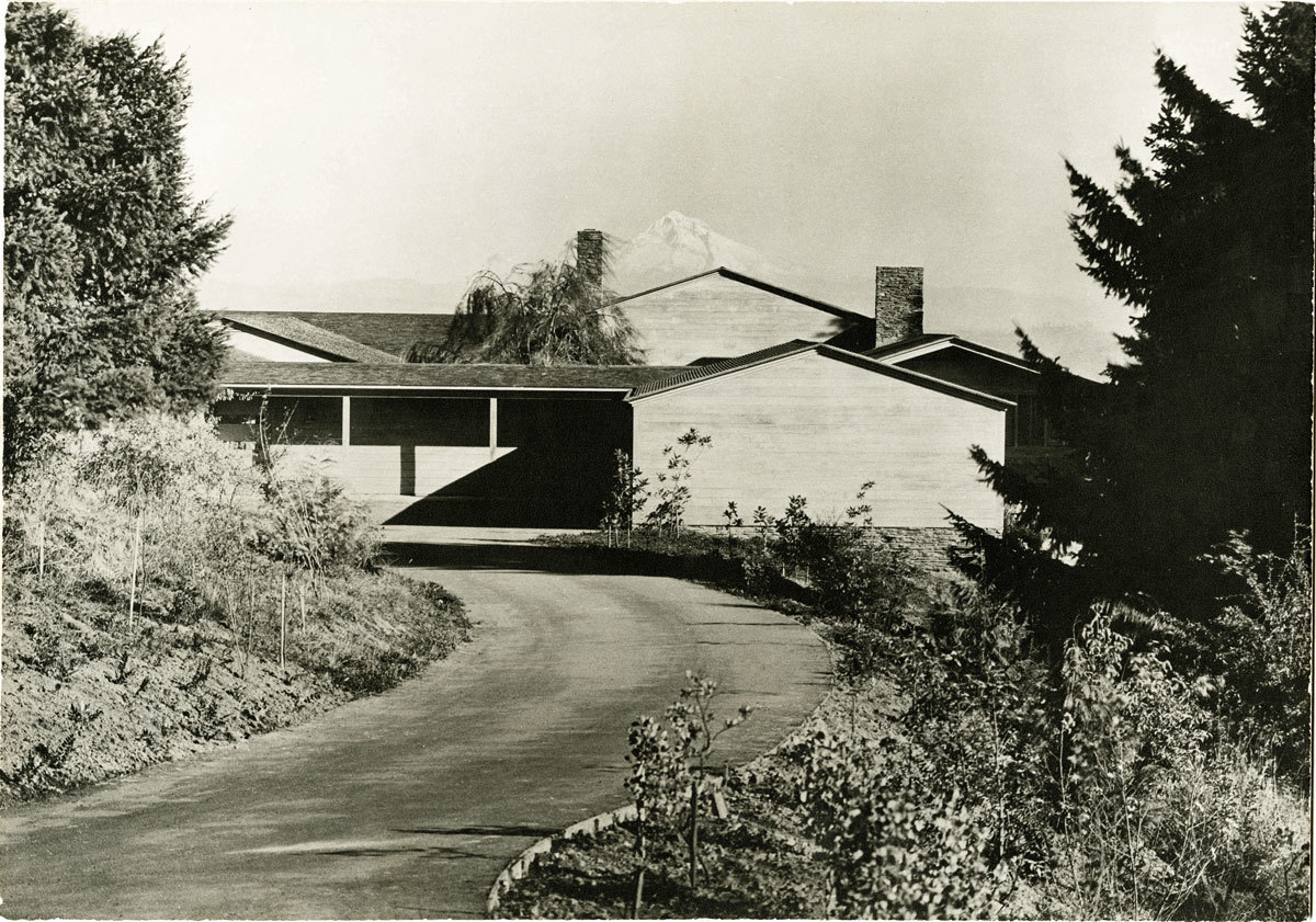 Walter Boychuk's 1938 photograph of the Watzek House set against the peak of Mt. Hood helped boost Yeon's national profile.