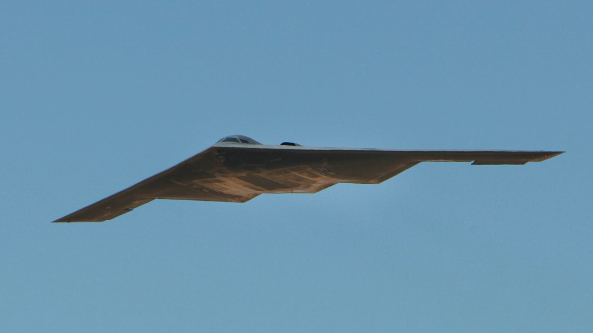 The U.S. Air Force's B-2 Spirit Stealth bomber flies over Northrop Grumman Corp.'s facility at U.S. Air Force Plant 42 in Palmdale in 2014.