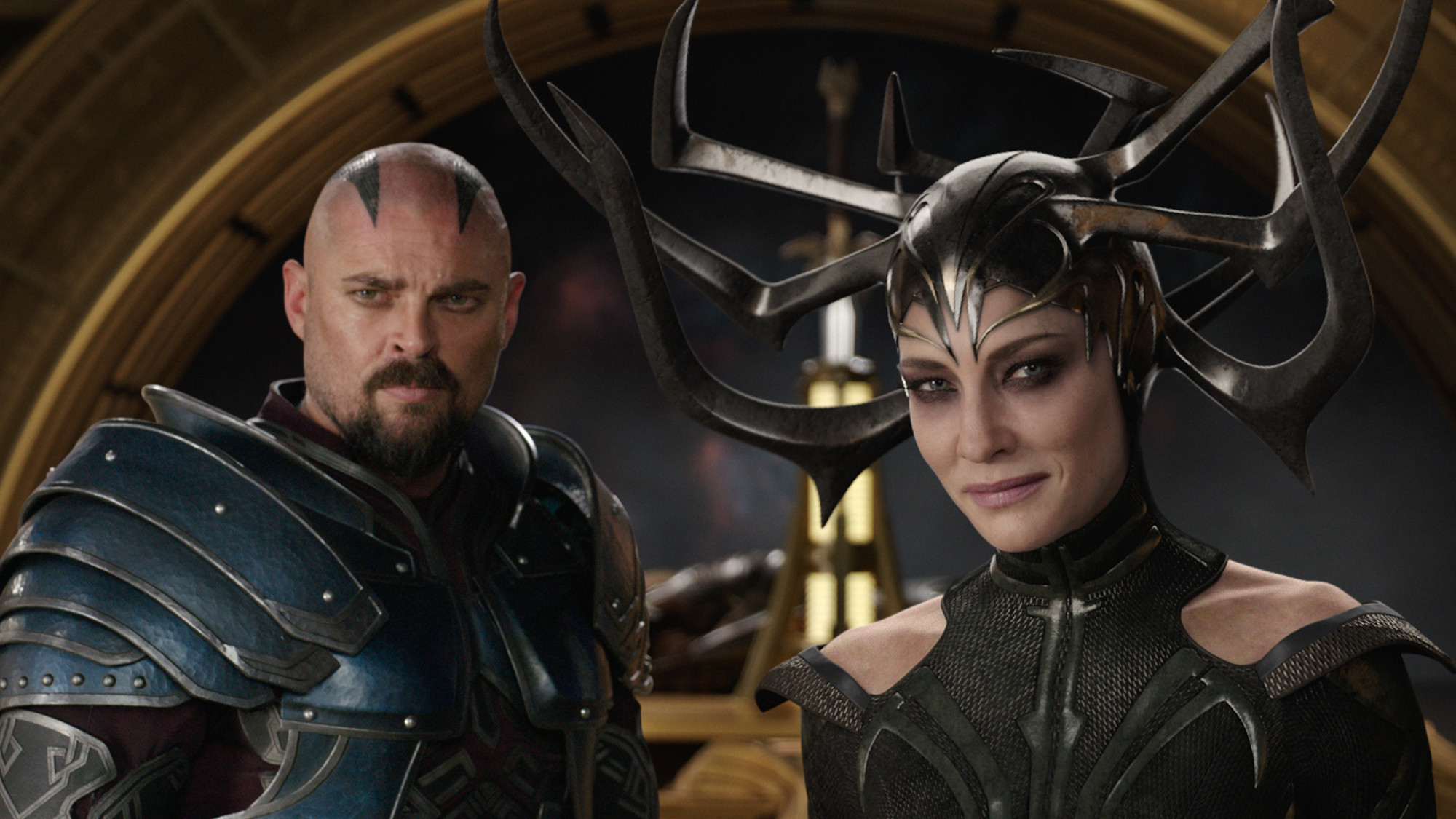 "Karl Urban as Skurge and Cate Blanchett as Hela in ""Thor: Ragnarok."""