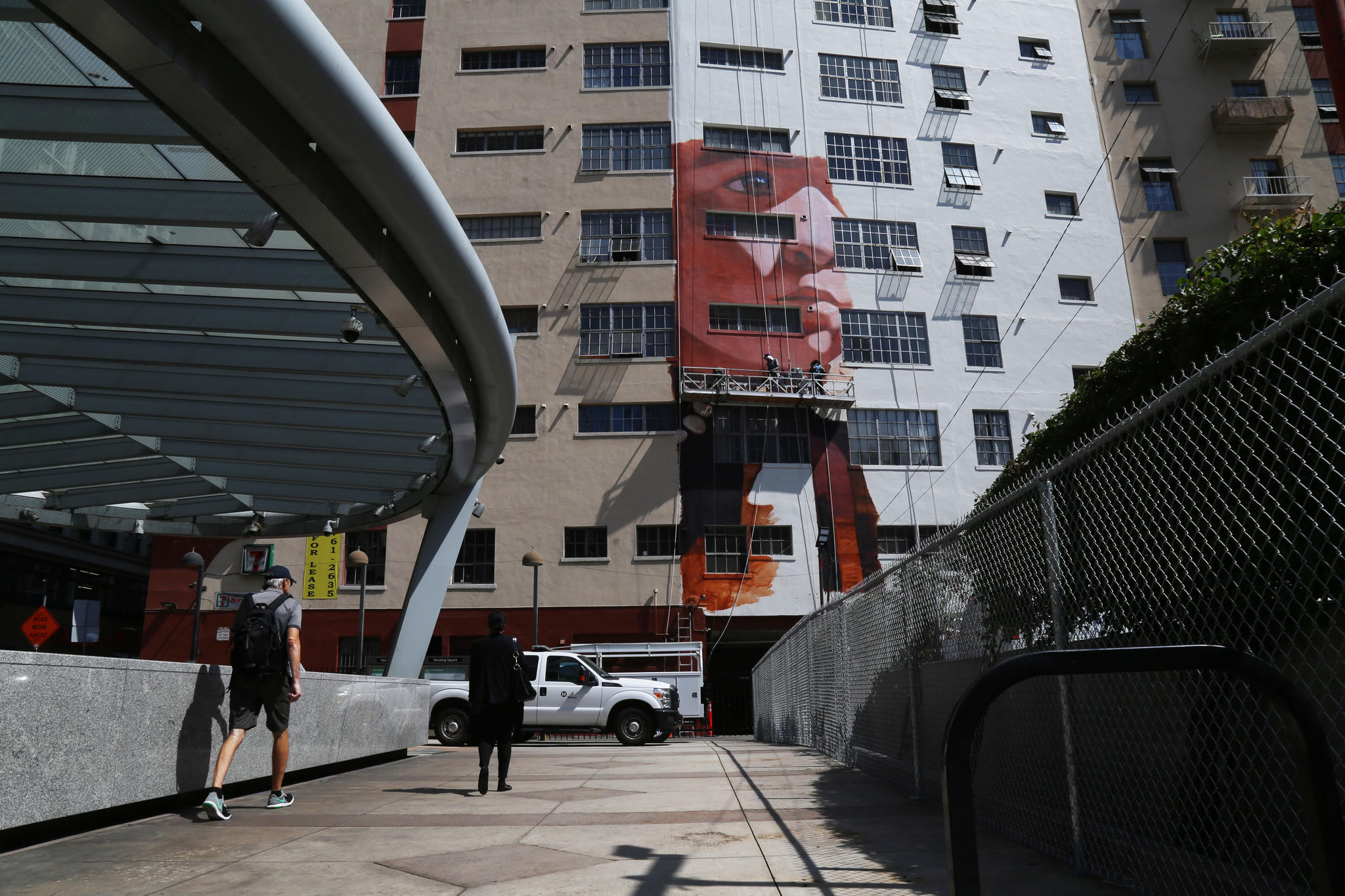 Robert Vargas' new mural as seen from Pershing Square.