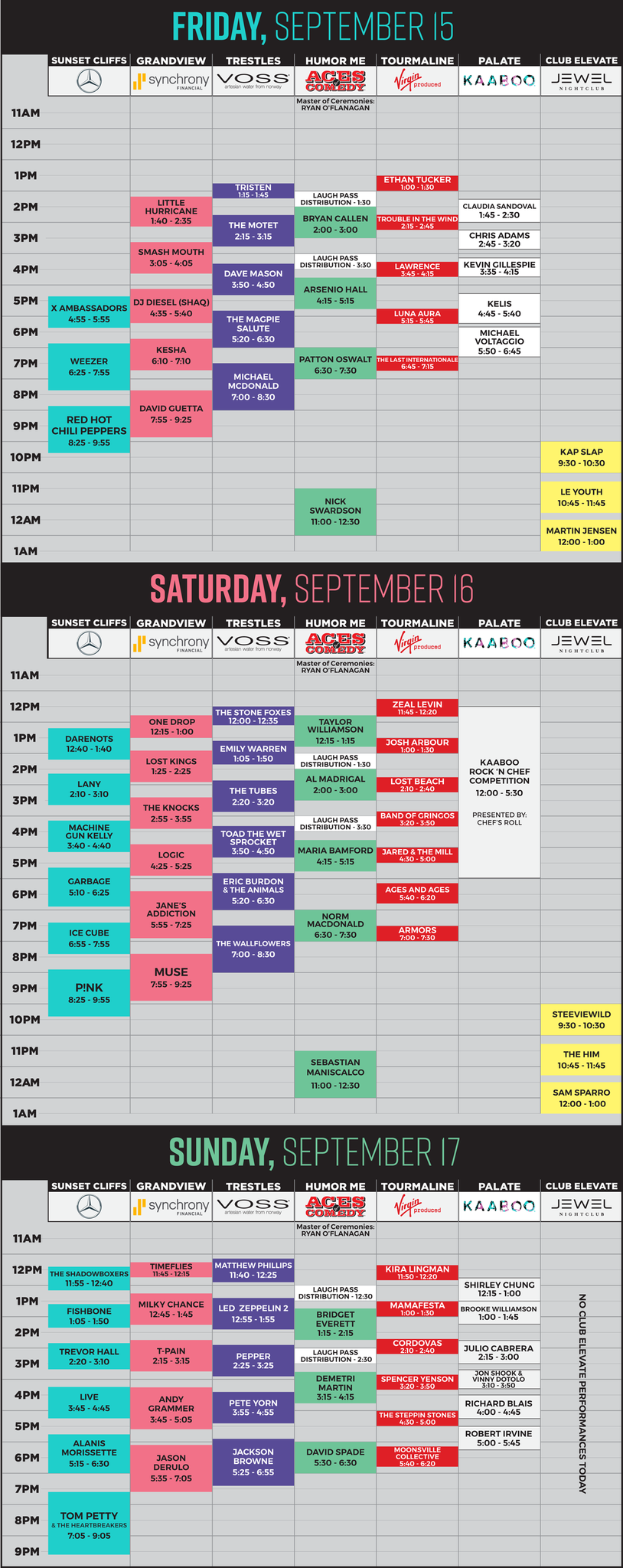 KAABOO 2017 performance schedule.