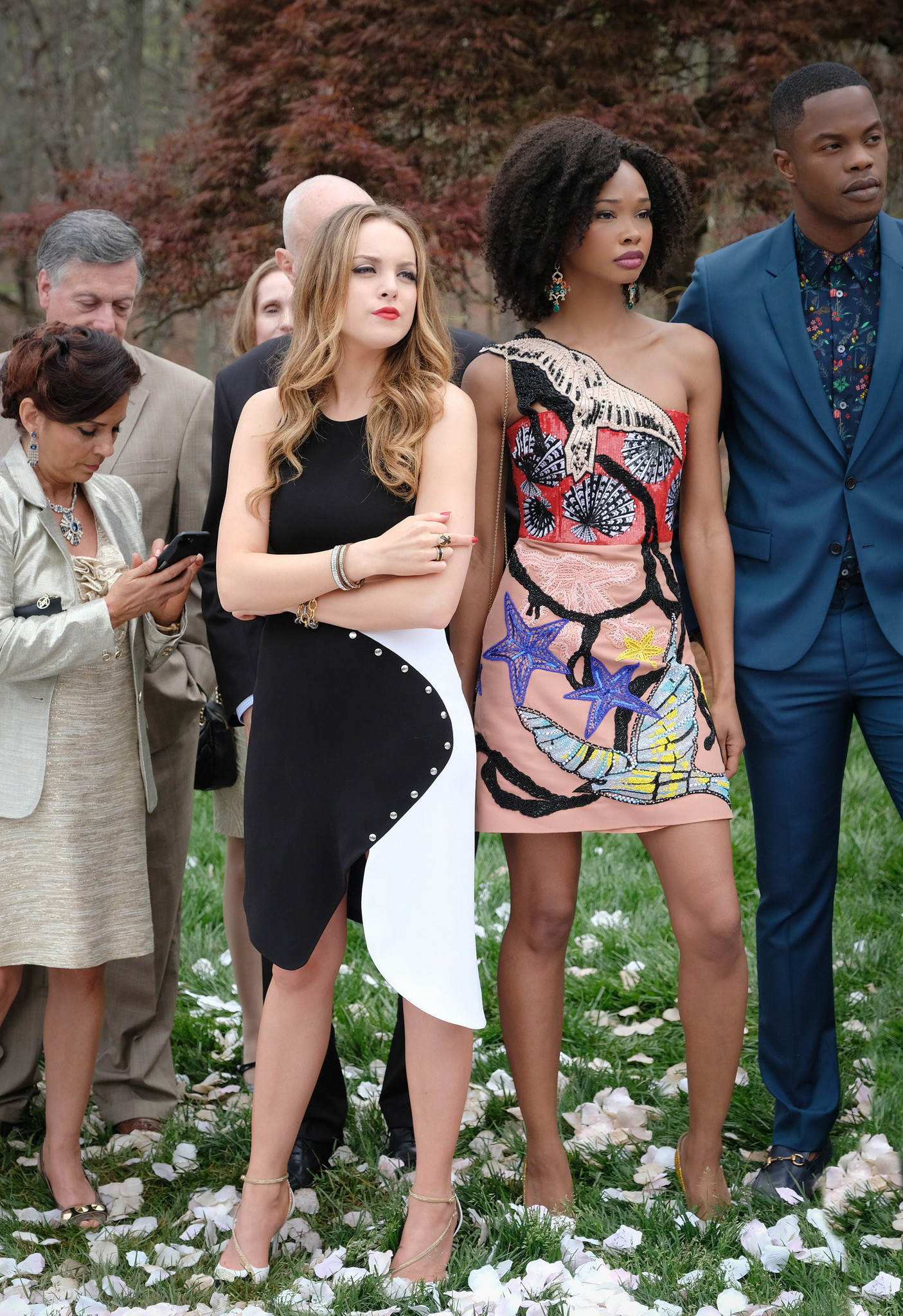 Elizabeth Gillies as Fallon, Wakeema Hollis as Monica and Sam Adegoke as Jeff in a scene from the CW's 'Dynasty