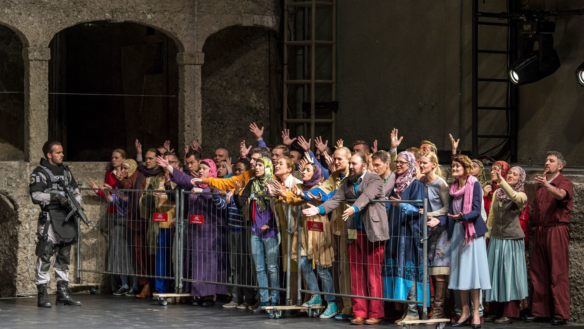 """Peter Sellars' Salzburg Festival production of Mozart's """"La Clemenza di Tito"""" reinterpreted to reflect the modern émigré crisis in Europe."""