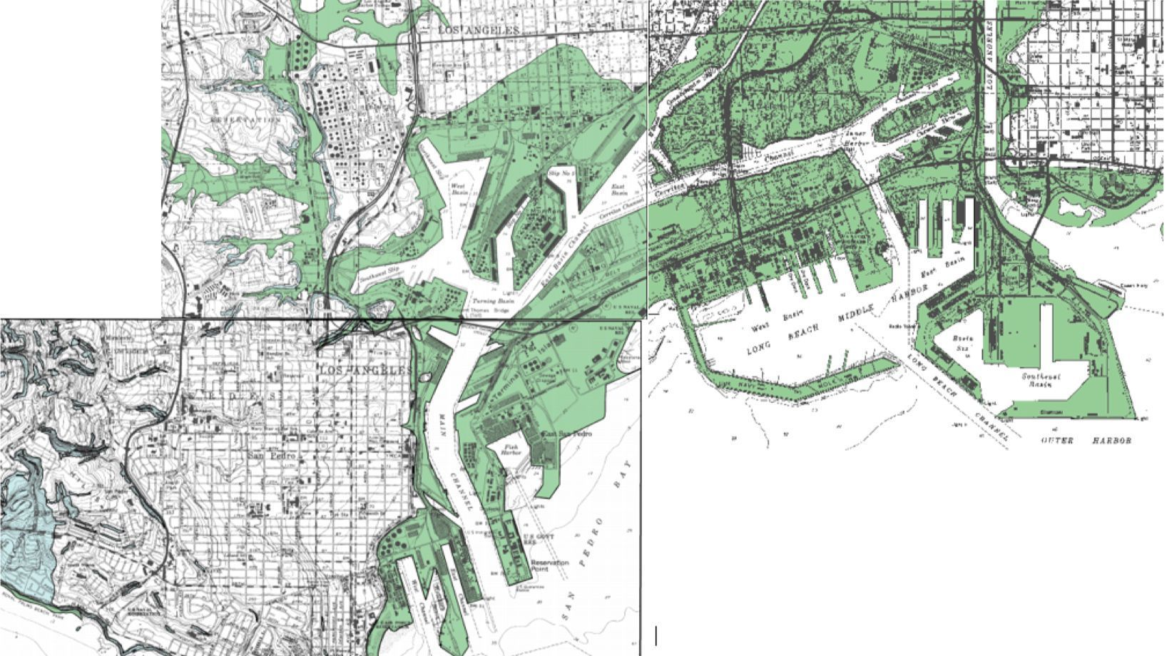 A state map shows areas in green at risk of liquefaction in an earthquake. The ports of Los Angeles and Long Beach are at risk of liquefaction in a major earthquake on the Palos Verdes fault.