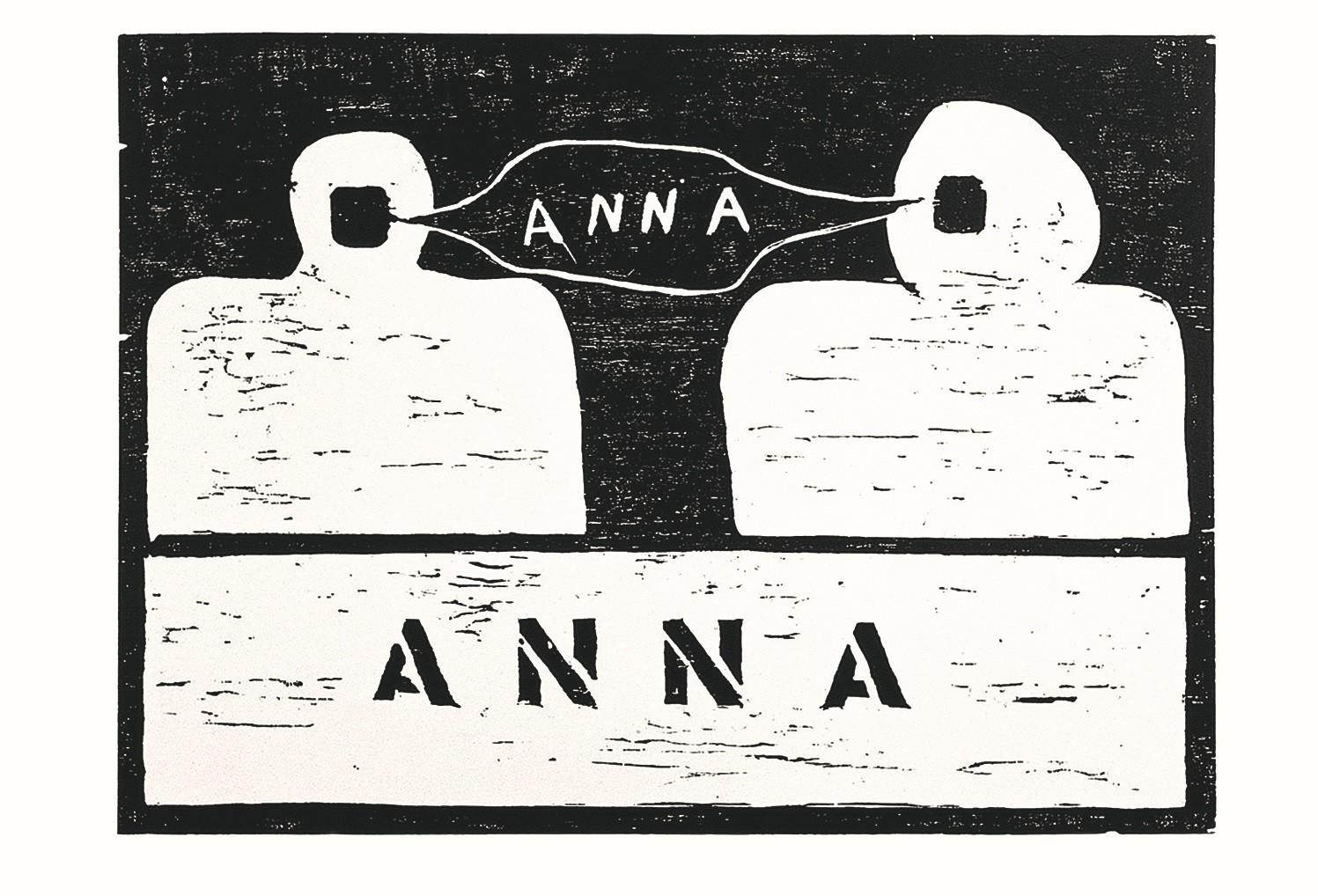 """Anna Maria Maiolino, """"Anna,"""" 1966, woodcut."""
