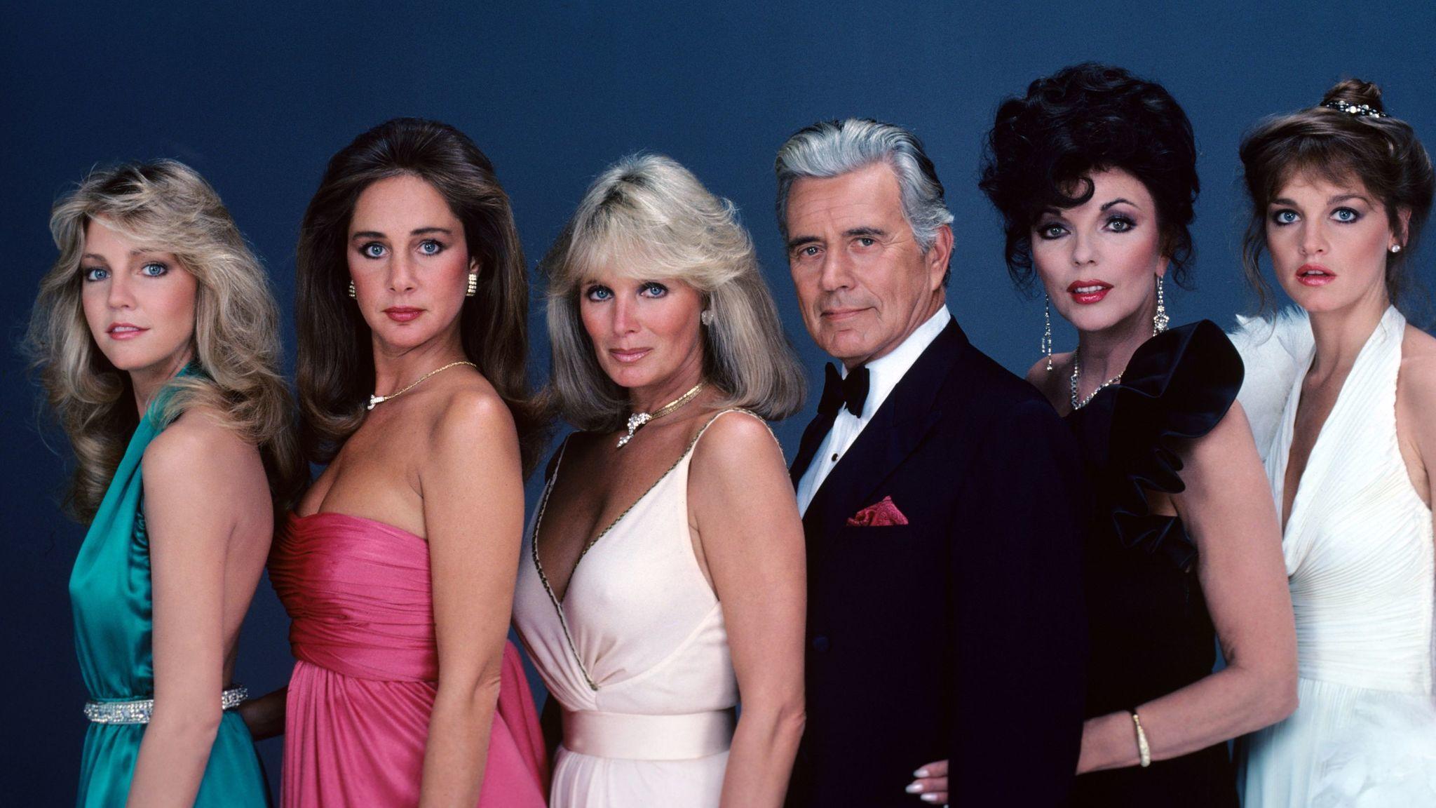 "The original ""Dynasty"": Heather Locklear (Sammy Jo Dean), from left, Pamela Bellwood (Claudia Blaisdel), Linda Evans (Krystle Carrington), John Forsythe (Blake Carrington), Joan Collins (Alexis Carrington) and Pamela Sue Martin (Fallon Carrington)."