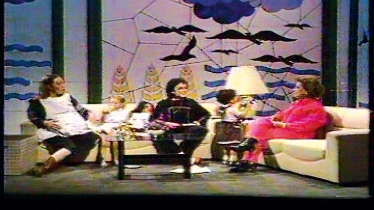 """Maris Bustamante, left, and Mónica Mayer, center, staged performances that made it onto TV talk shows, such as """"A Brazo Partido,"""" from 1983-84."""
