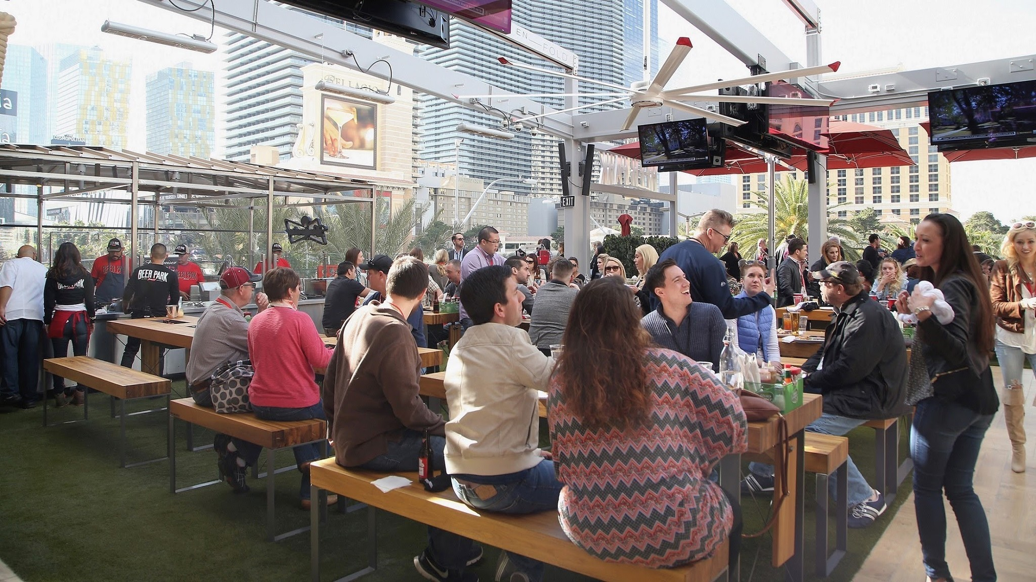 Beer Park has an open-air location overlooking the Strip.